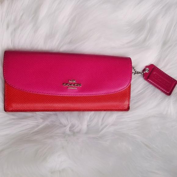 Coach Handbags - Coach | Pink & Red Colorblock Wallet